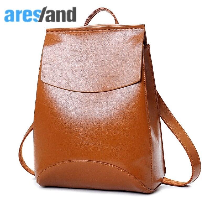 Aresland Brand Leather Women s Backpack Classic Design School Bag for Teenage Girls Student School Bag