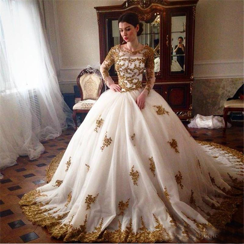 luxury long sleeve 2016 new sexy gold applique white tulle ball gown wedding dress bridal gown