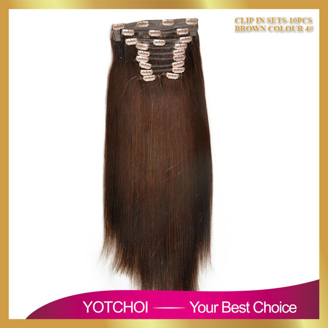 Yotchoi Hair Products 10pcs Weft Clip In Hair Extension Dark Brown