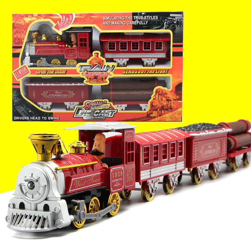 Cartoon Vintage Steam Train Set 4 Section Alloy Model Toy for Children Diecast Train Model with Music Light Pull Back Automobile