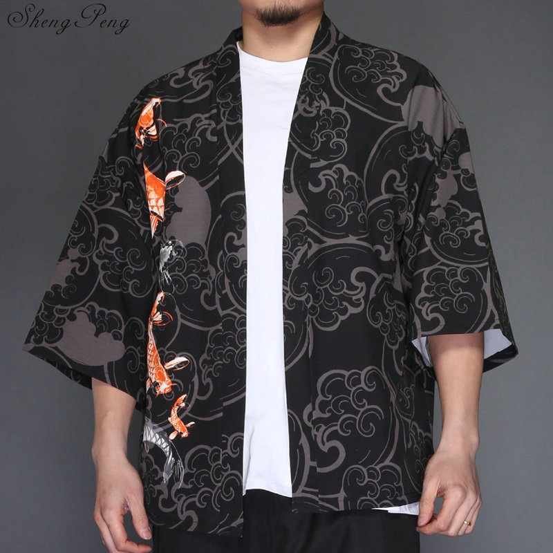 Japanese Kimono Men Cardigan Shirt Blouse Yukata Men Haori Obi Clothes Samurai Clothing Cosplay Male Kimono Japan V1274