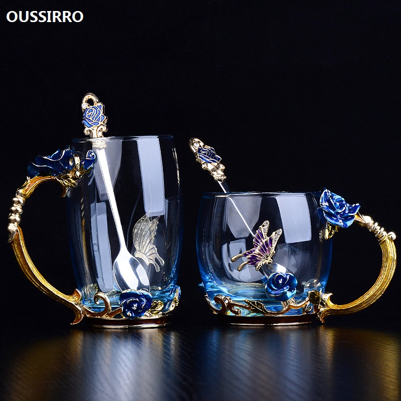 OUSSIRRO Enamel color glass Gift Box cup women household Christmas gift send girlfriend wife rose cup heat creative gift L1992