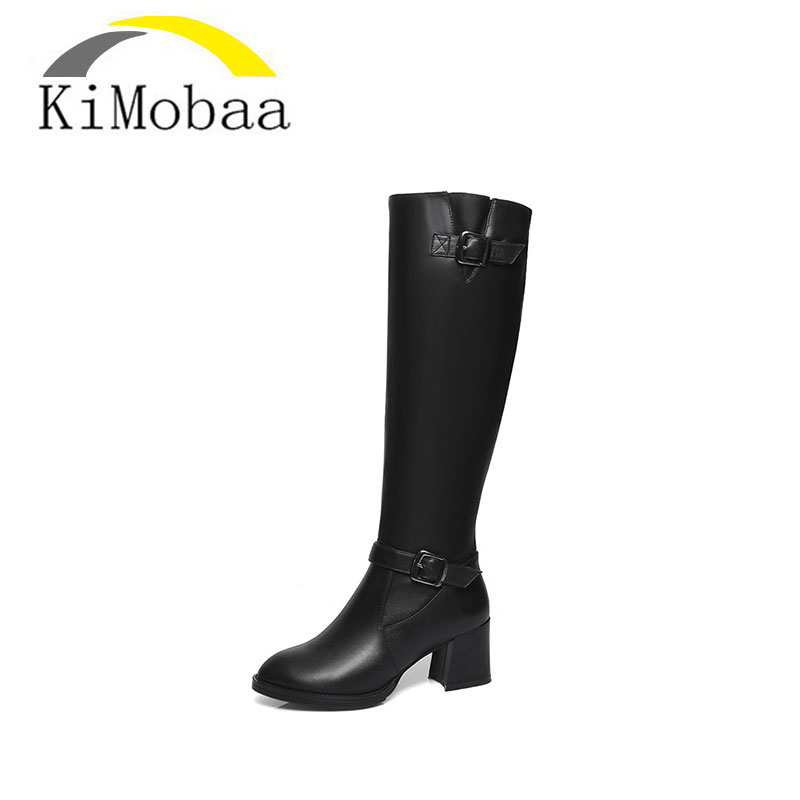 Kimobaa Plus Size 34-42 Genuine Leather Boots Buckle Zipper Square Heel Autumn Winter Knee High Boots Fashion Ladies Shoes TX107 new big size 34 42 high quality pu genuine leather boots square heel winter shoes zipper buckle women knee high boots