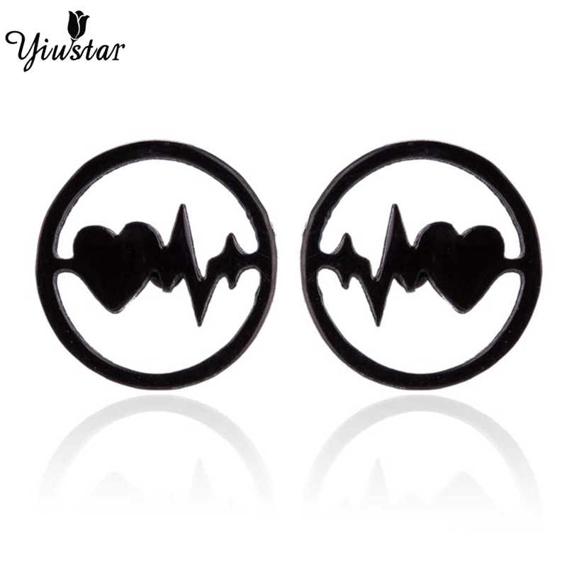 Yiustar Charming Small Love Lightning Stud Earrings Female Jewelry Round Ear Stainless Steel Family Party Gifts boucle d'oreille