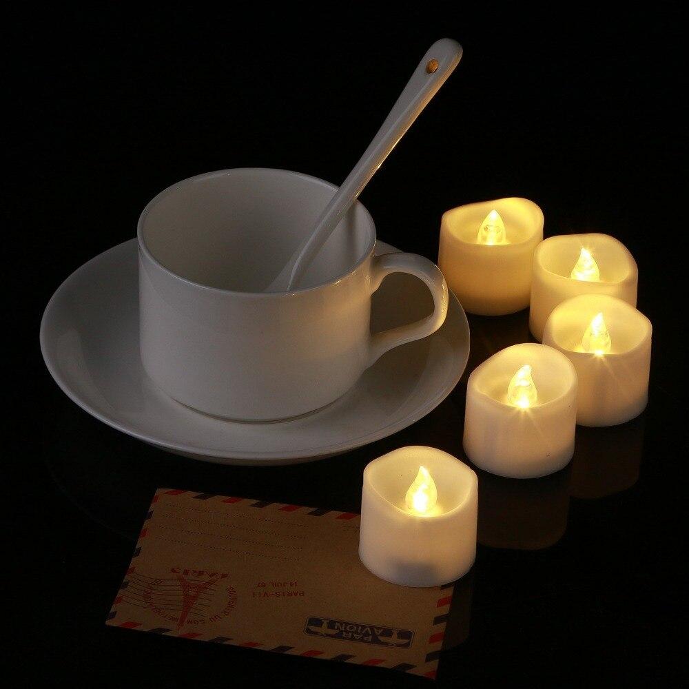 Беспламенные Свечи на батарейках светодиодный светильник Желтый Мерцающий волновой формы светодиодный свечи для вечерние украшения на Рождество