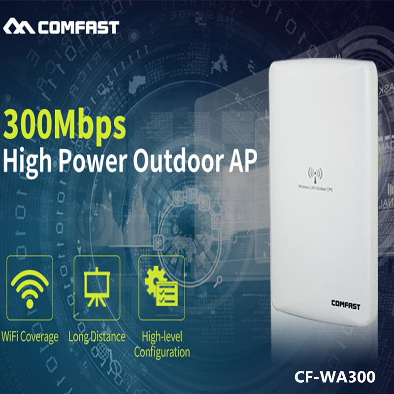 COMFAST outdoor CPE bridge 300Mbps long range Signal Booster extender 1-5km Wireless AP dual 16dbi outdoor wireless AP CF-WA300 food security