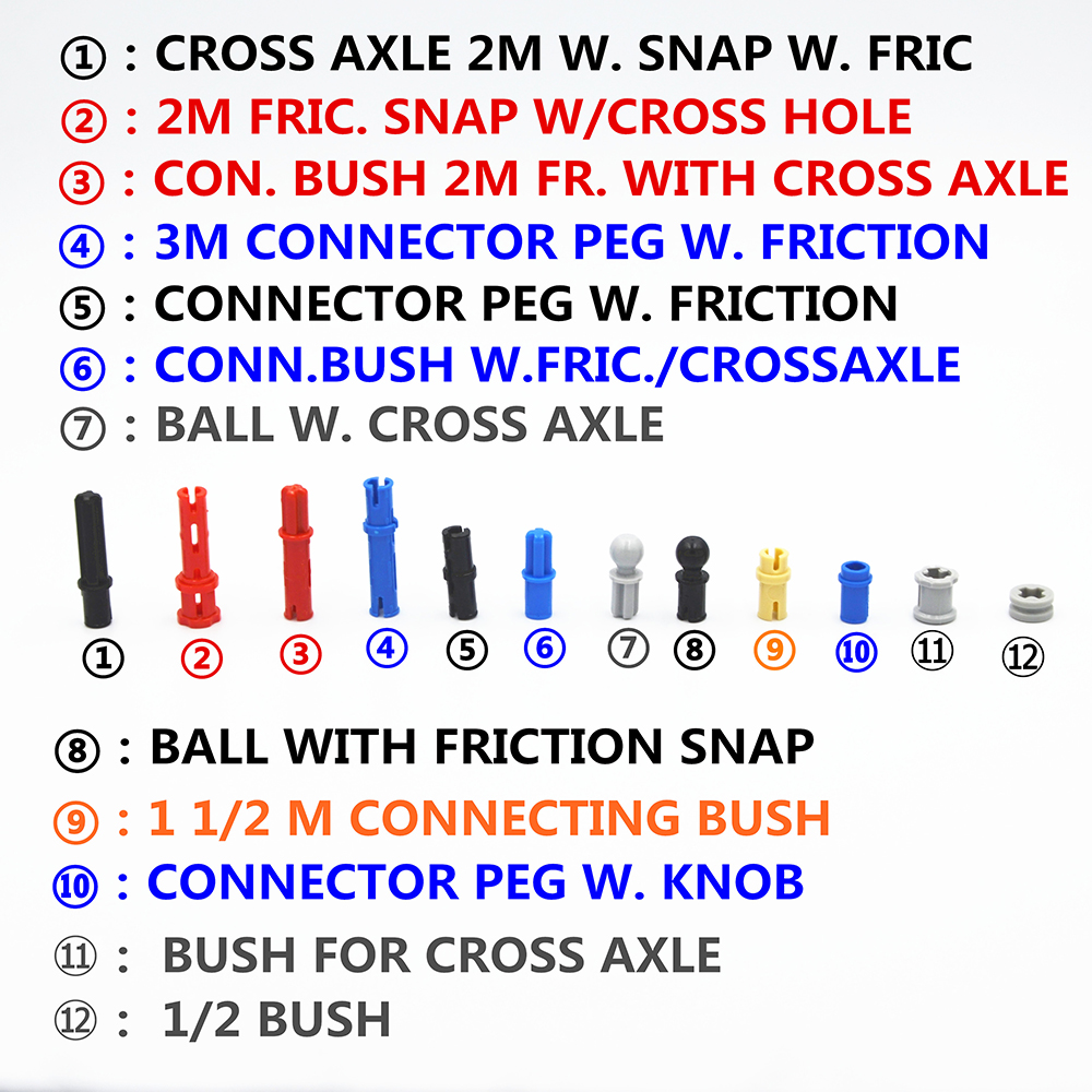 Building Blocks MOC Technic Parts TECHNIC Pins & Bushs Compatible With Lego For Kids Boys Toy