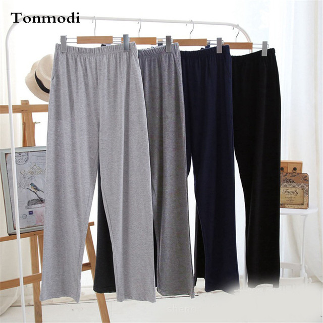 Men's Pajamas Pants autumn and spring Solid Cotton Sleep Bottoms Thin Men Recreational trousers