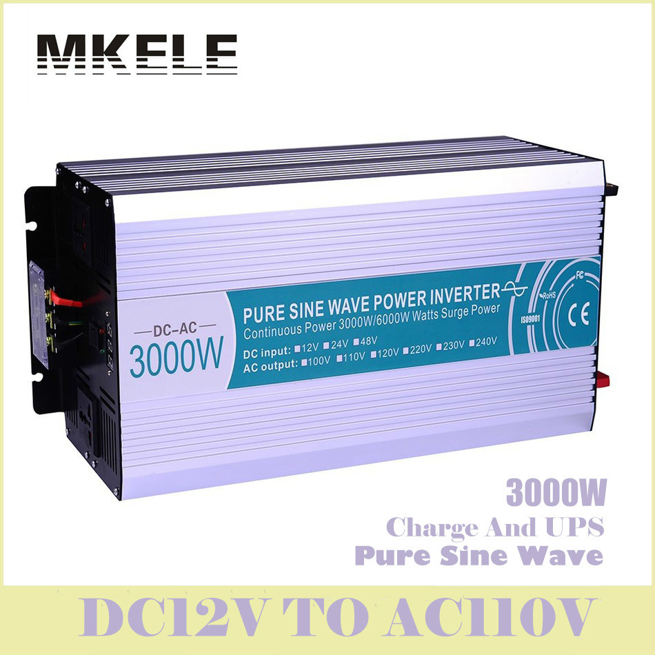 MKP3000-121-C Solar Inverter 3000w 12v Dc To 110v Ac Off Grid Pure Sine Wave Inversor With Charger And UPS Converter China 300w 12v dc to 110v ac pure sine wave inverter voltage converter off grid solar inverter electric power inversor mkp300 121