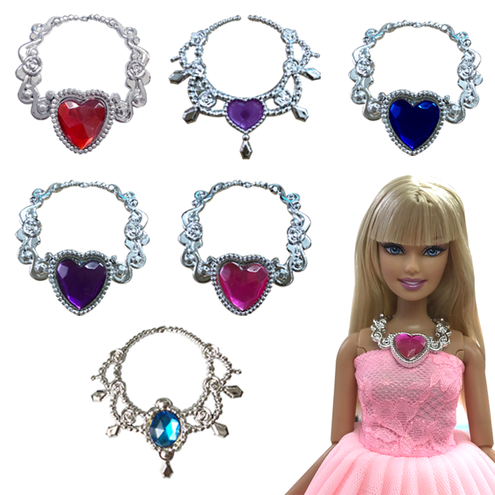 NK 3 Pcs/Set Random Doll Fashion Crystal Plastic Chain Necklace For Barbie Doll Accessories Princess Party DIY Toy Jewelry   DZ