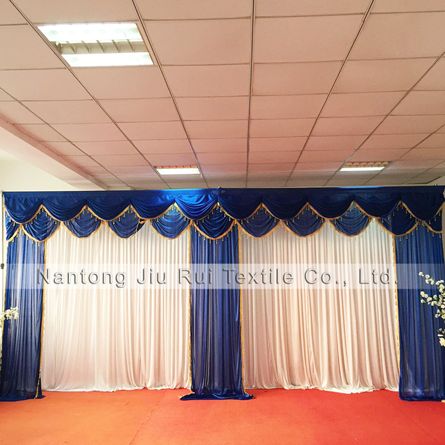 3mh6mw Ice Silk White Curtain Wonderful Royal Blue Swags And Drapes