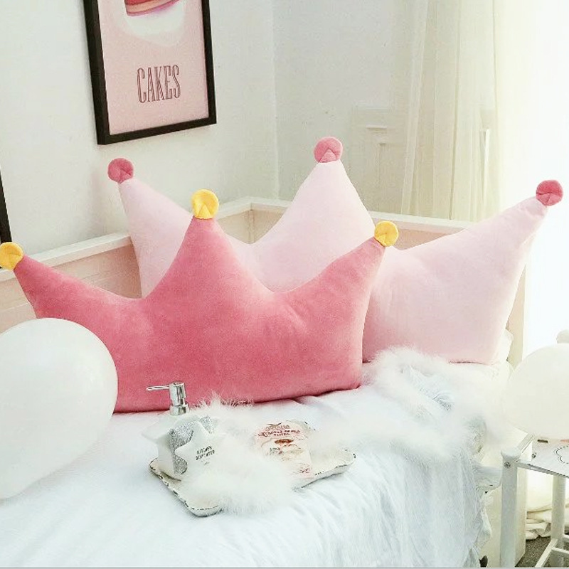 Princess Crown Shaped Pink Pillow Cushion for Girls Bedside Decoration Back Pillow with Core Room Decor Birthday Gift
