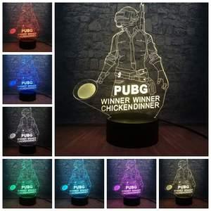 Image 2 - Cool bataille Royale jeu PUBG gagnant 3D veilleuse LED 7 couleur Illusion changeante lampe de bureau pour enfants anniversaire lampe décor à la maison
