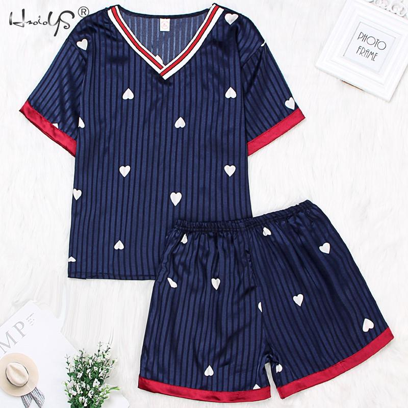 Strawberry Print Striped Tee & Shorts   Pajamas     Sets   Women Sexy PJ Satin Short Sleeve   Set   2019 Summer Women Sleepwear Home Clothes