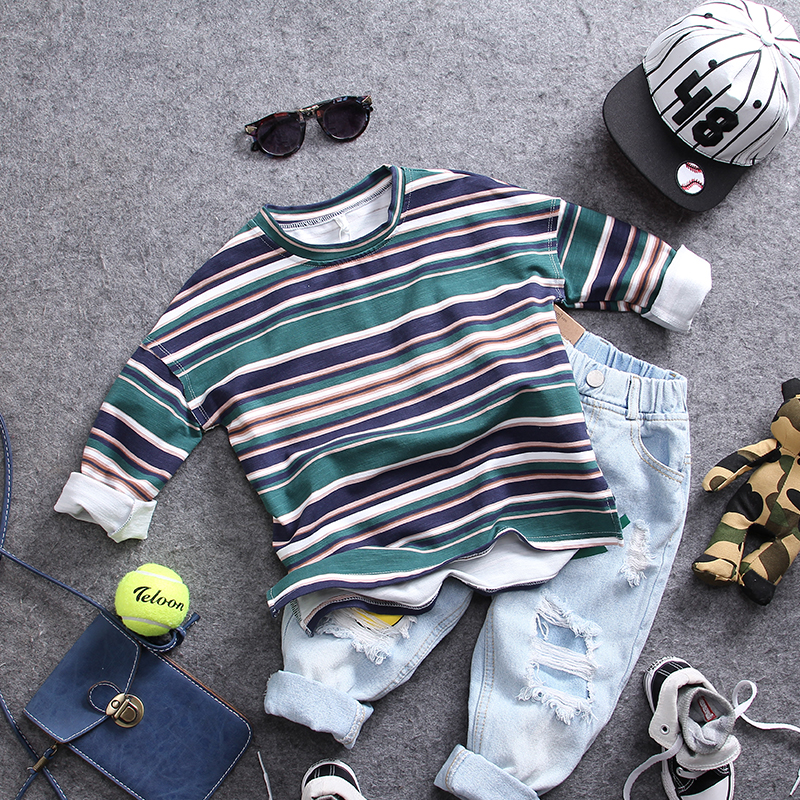 only t shirt 1pc new 2018 spring boys striped O neck t shirt boys fashion style long sleeve t shirt kids spring autumn t shirt