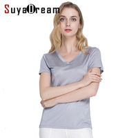 Silk Women T Shirt 100 Natural Silk Basic Shirt Short Sleeve Solid V Neck Top 2017