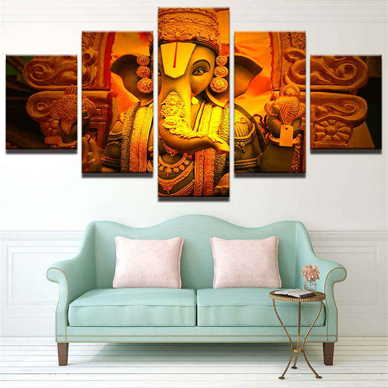 Wall Art Pictures Living Room Frame Modern HD Printed 5 Piece India Ganesha Canvas Paintings Elephant Head God Poster Home Decor In Painting Calligraphy