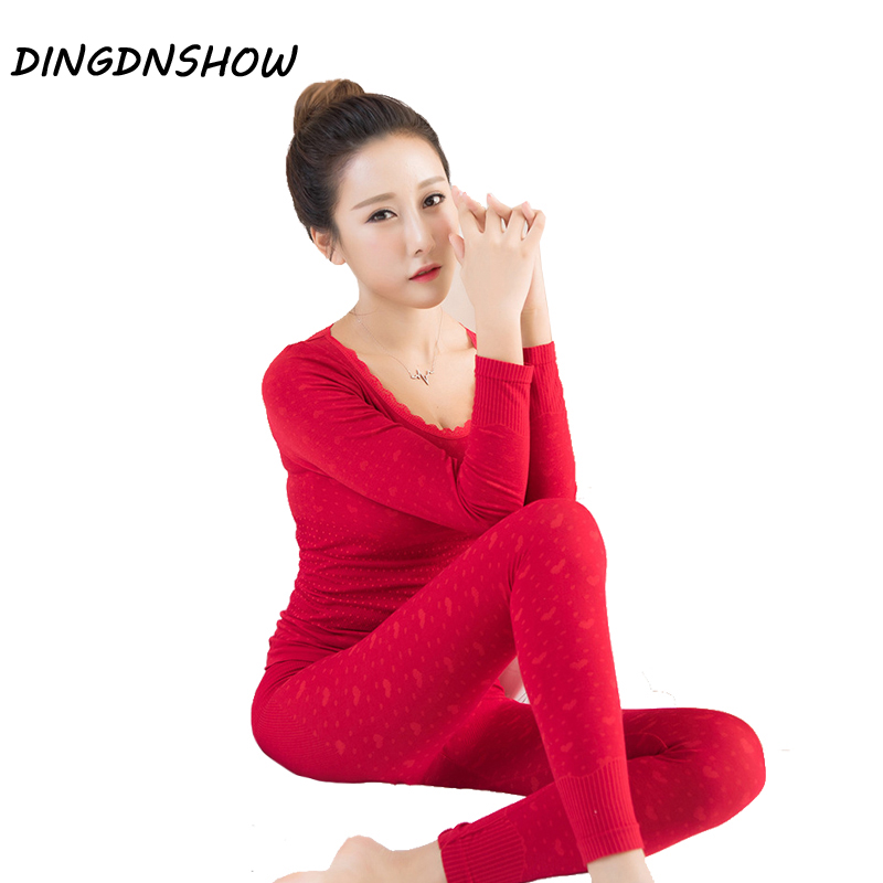 [DINGDNSHOW] Fashion Thermal Underwear Winter Sexy Seamless Colored Cotton Print Warm Long John Shaped Underwear Sets For Women