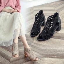 b6967ed55b OLOMMWomen Crystal Sandals Summer Leather Heels Open Toe Women's Sandals  Low Block Heel Woman Shoes Sexy