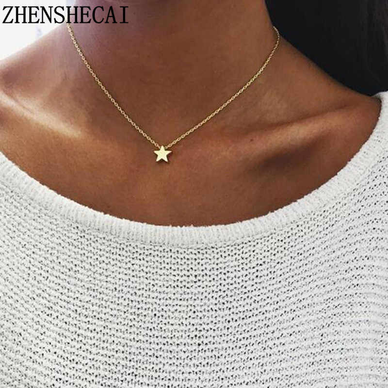 2018 new women choker gold silver star heart chain heart choker necklace kolye bijoux collares mujer Collier femme A49
