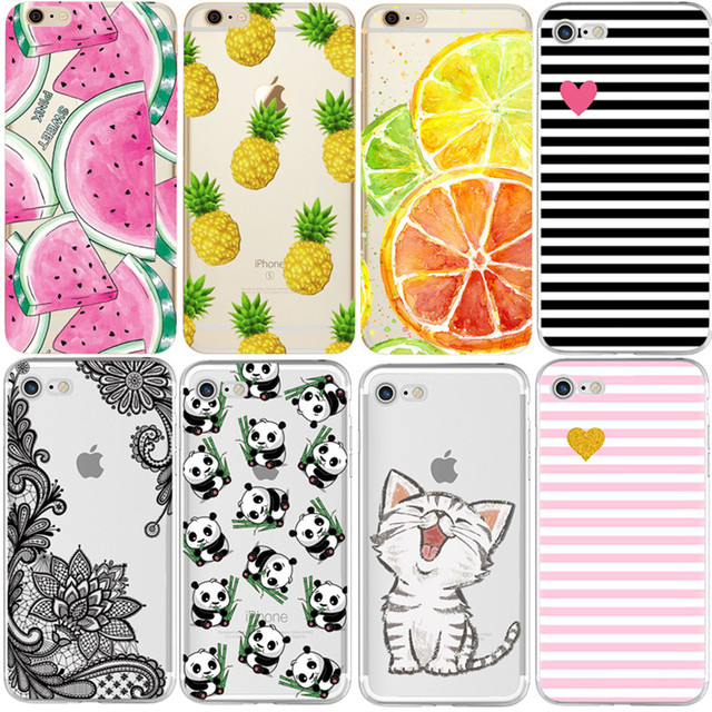 Tampa Da Caixa Do silicone para o iphone X 8 7 4 4S 5S 5C SE 6 6 s Plus Phone cases Suave TPU Fundas Frutas Transparente