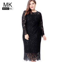 Miaoke Plus Size Long Sleeve Midi Lace Dress Women Clothing 2018 High Quality Fashion Sexy Club Party Elegant Dresses 4XL 5XL 6X