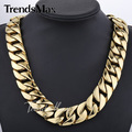 Trendsmax 24mm Wide Custom Any Length Heavy Thick Gold Tone Gold Plated Round Curb 316L Stainless Steel Necklace Chain HN71