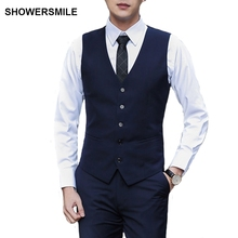 SHOWERSMILE Brand Formal Dress Vests Suit Wedding Vintage Latest Waistcoat Designs For Men Navy Blue Sleeveless Jackets Chalecos