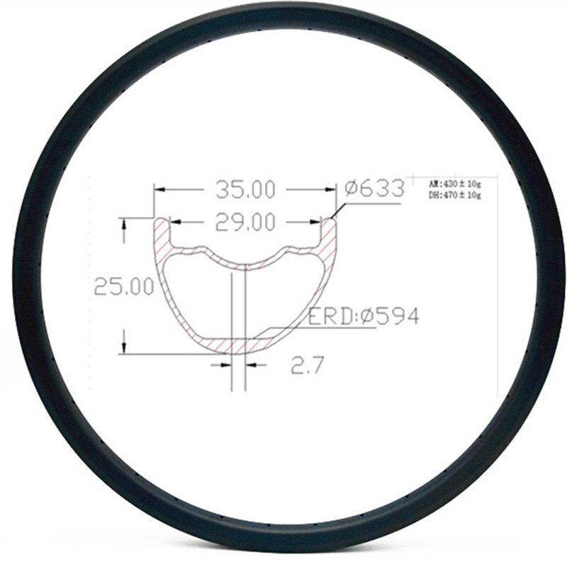 Graphene Carbon Mountain Rims Disc Bikes Rim 29er AM Mtb Bike Rim Hookless Bicycle Rims 35x25mm Asymmetric 24 28 32H Tubeless
