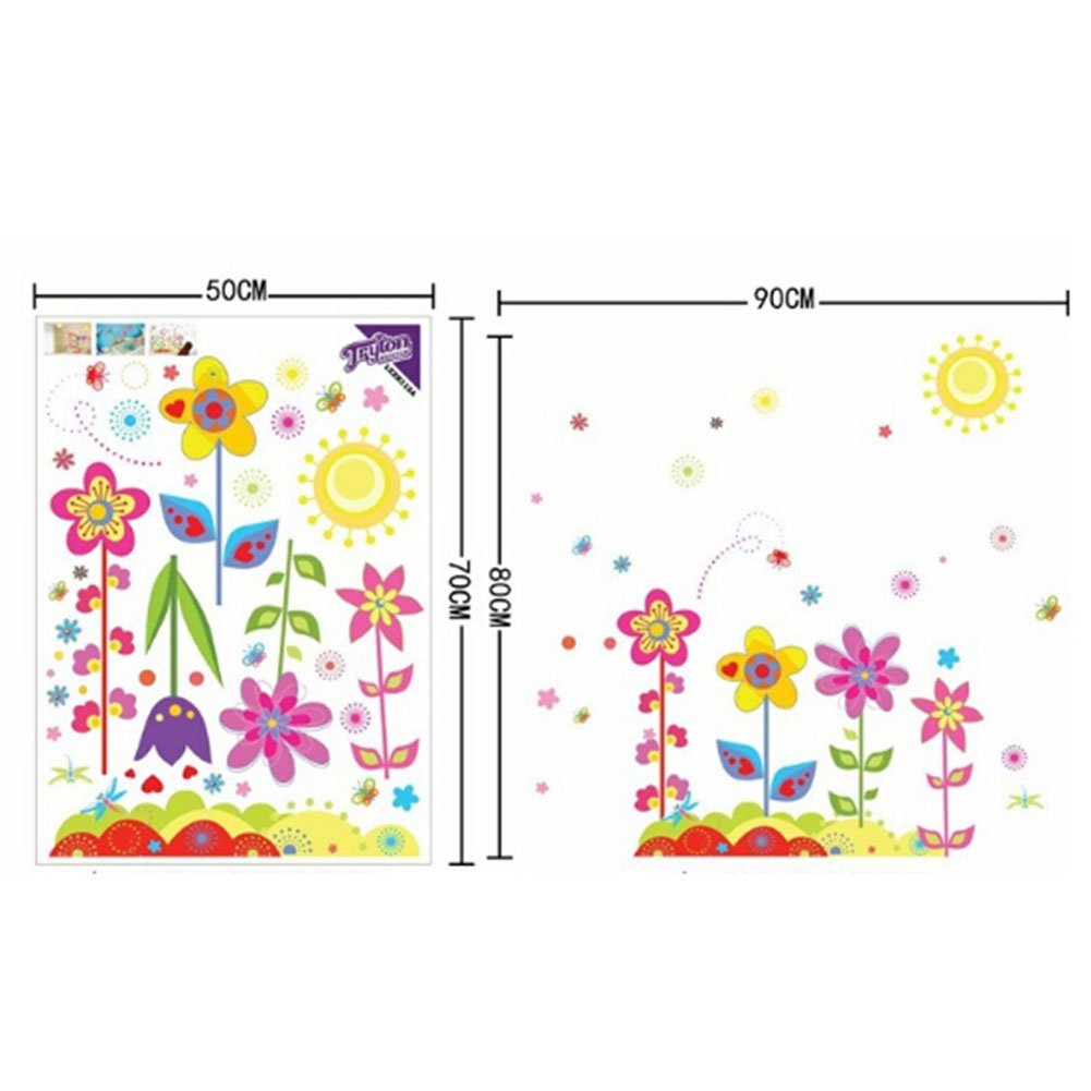 1Pc Flowers Wall Sticker Child Role Of ChildrenS Diy Adhesive Art Mural Picture Poster Removable Vinyl Wallpaper