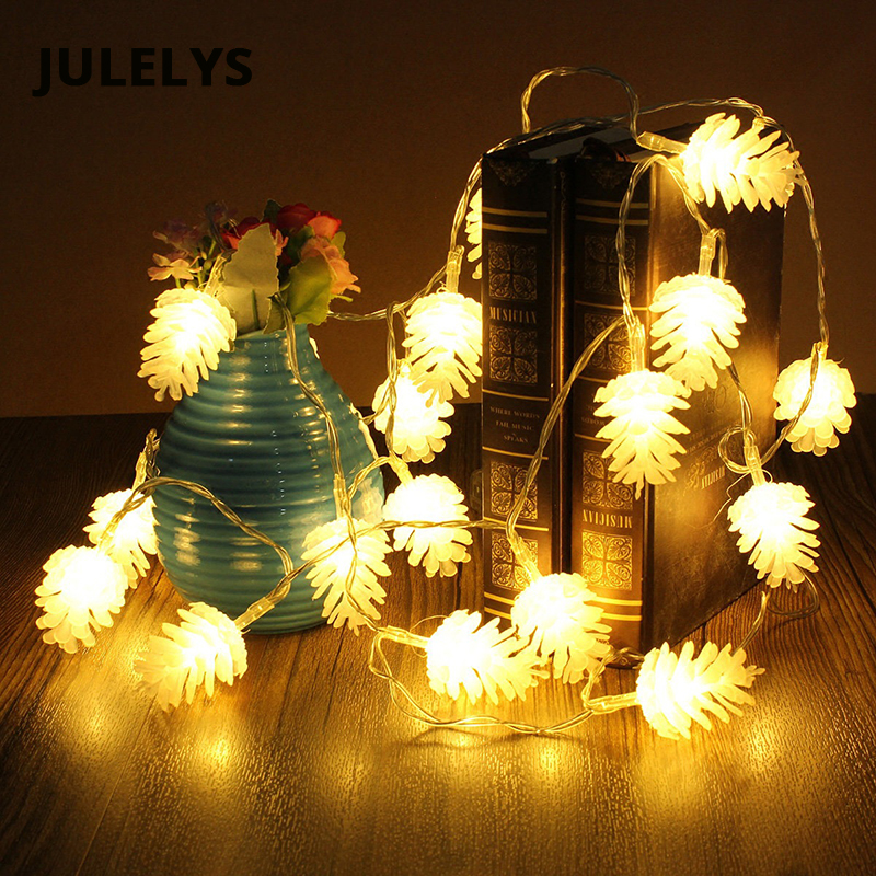 все цены на JULELYS 10M 100 Bulbs LED Garland Pine Nuts String Lights Christmas Tree Decoration For Backyard Holiday Garden Decorative Light