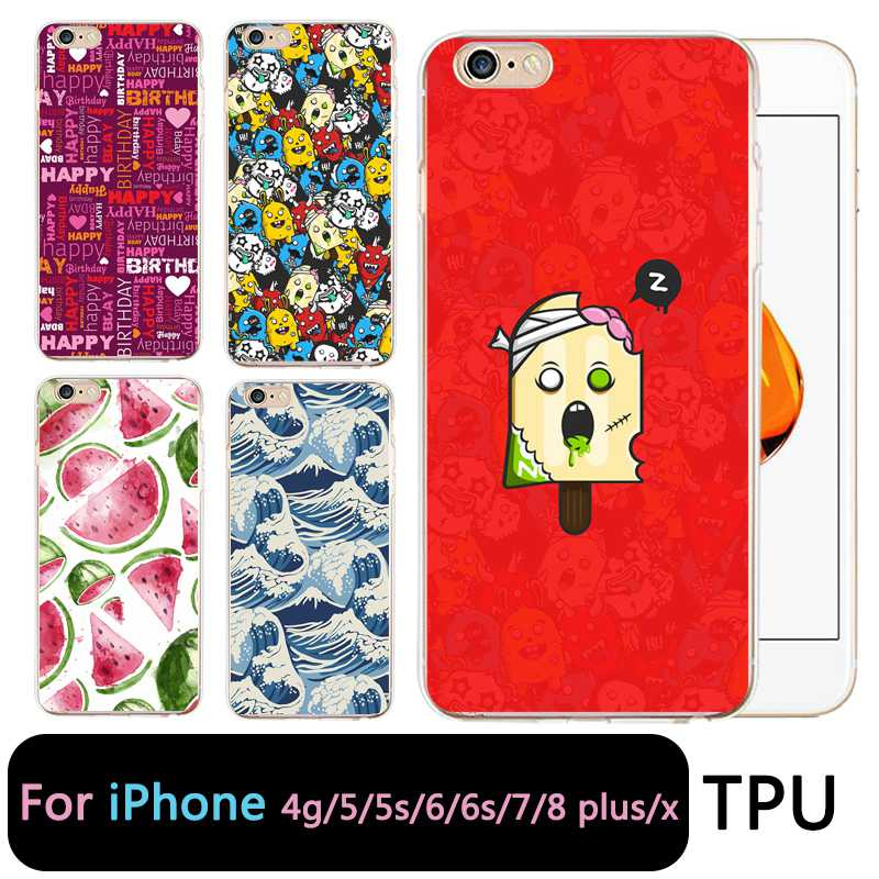 QMSWEI TPU Clear Phone Case For iPhone 6G 6s 7 8plus x Soft Icecream Watermelon Silicone Printed Cover For iPhone 4 5se 6Plus 7P