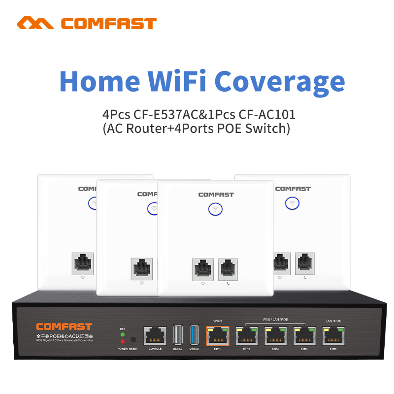 Hom Gigabit 4 Ports Poe Switch AC Router + 4 Dual Band 750Mbps WiFi Repeater Wireless AP Wi-Fi Signal Amplifier indoor Wall AP 1750mbps gigabit lan wireless router 2 4g 5 8g dual band 802 11ac access point wi fi router with 6 6dbi antennas 5 rj45 ports