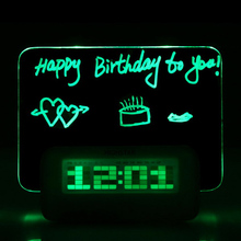 LED Digital Alarm Fluorescent With Message Board USB Port Table Clock With Calendar