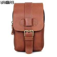 UniCalling men leather waist bag fashion small genuine for male casual phone cigarette wallet holder