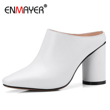 ENMAYER White Shoes Woman High Heels Mules Slingbacks Pumps for Women Lace-up Size 34-40 Genuine Leather