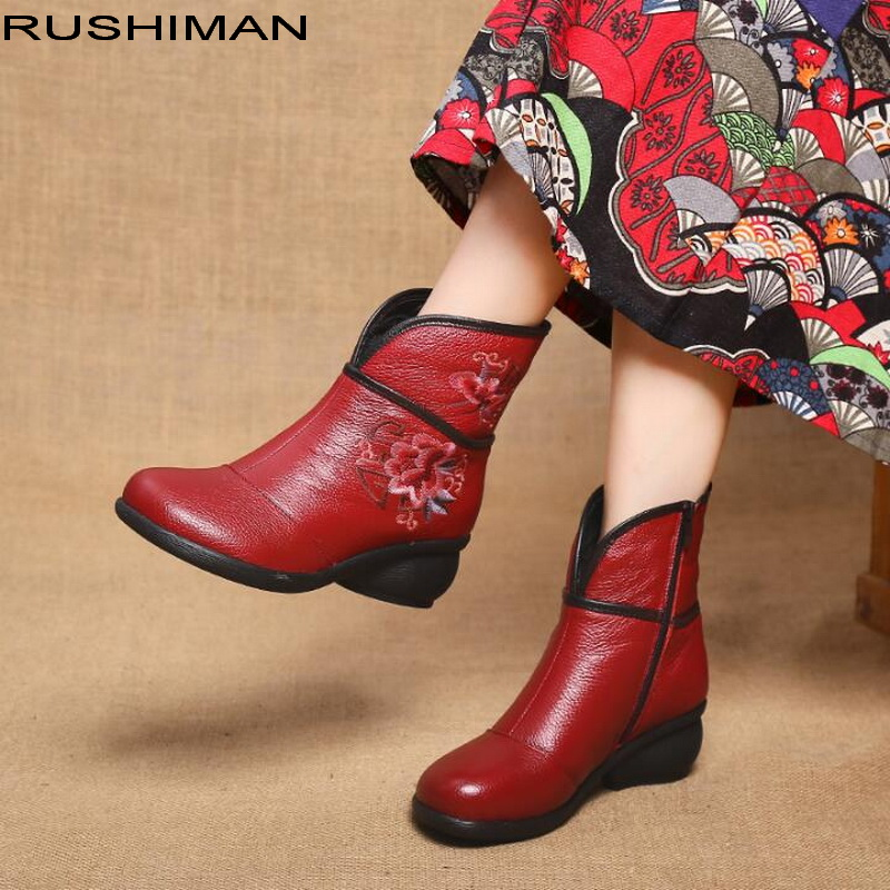 Vintage national wind Martin Boots embroidery Genuine Leather Ankle Shoes soft bottom cowhide leather mother shoes women's boot national wind embroidery lace paneled v neck blouse