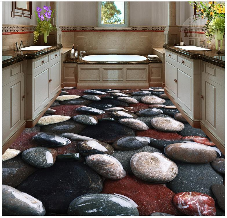 Custom Photo self-adhesive 3D Floor wallpaper 3d for bathrooms stone PVC waterproof floor  3d floor wallpapers
