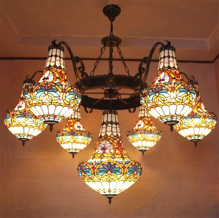 European Vintage Glass Large Pendant Light Artistic Tiffany Bar Cafe Lamp Dining Room Pendant Light Dia 150cm 23 Lights heavy duty 8 self adjusting wire stripper cutter crimper automatic plier tool