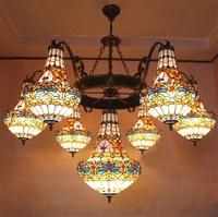 European Vintage Glass Large Pendant Light Artistic Tiffany Bar Cafe Lamp Dining Room Pendant Light Dia 150cm 23 Lights