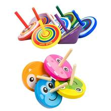1 PC Kids Wood Gyro Toys Children Adult Relief Stress Desktop Spinning Top Toys Kids Birthday Gifts Random Color(China)