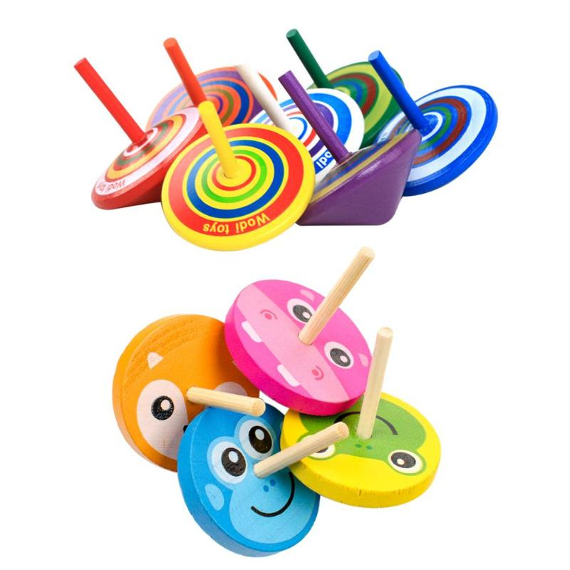 1pc Kids Wood Gyro Toys For Children Adult Relief Stress Desktop Spinning Top Toys Kids Birthday Christmas Gifts Random Color