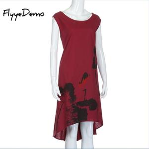 Image 3 - M   6XL Mùa Hè 2020 Mới Đầm Vestido Cổ Áo Nữ Trung Quốc Linen Vintage Nữ Sundress Plus Size Nữ quần Áo