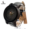 BOBO BIRD K08 Ebony Unique Quartz Wrist watch for Men Luxury Top Brand And Leather Strap with Japanese Movement in Gift Box