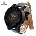 Bobo bird k08 ébano original relógio de pulso de quartzo para os homens de luxo Marca de topo E Pulseira de Couro com Movimento Japonês na Caixa de Presente