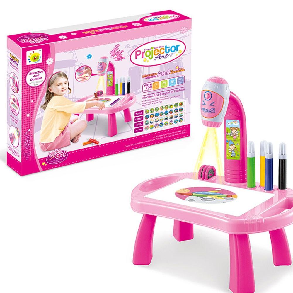 Часы мультики проекционный чертеж машина проектор пластиковый свет светодиодный свет девушка игрушки коллекция Мода Дети обучения Корона - Цвет: pink