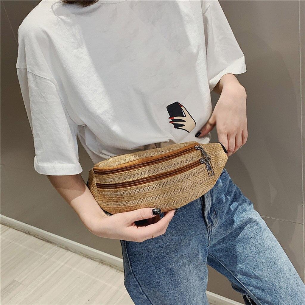 Men Women Waist Bags Fashion Neutral Outdoor Weaving Zipper Stripe Messenger Chest Bag Handbag On The Belt Bolso Cintura Pierna