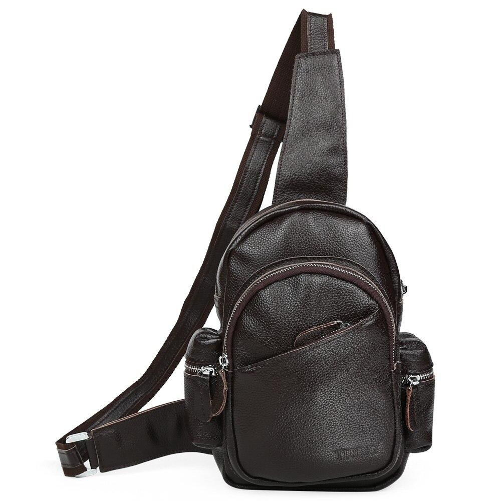 TIDING New fashion mens sling shoulder bag top unisex leather black brown day pack  3042