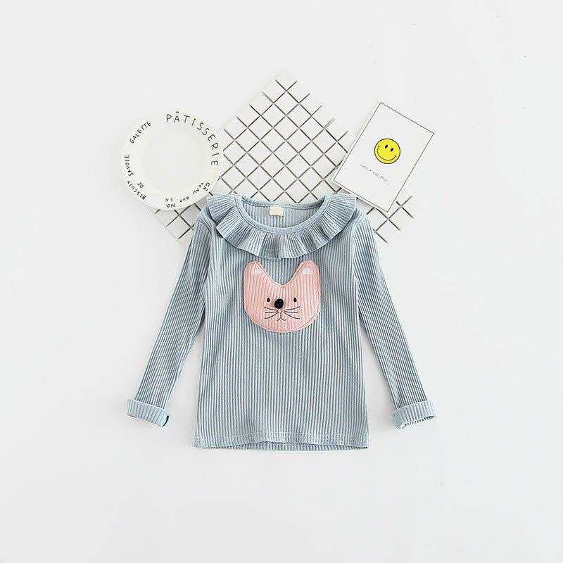 Krótka letnia koszulka dla dziewczynki letnie Długie rękawy - Ubrania dziecięce - Zdjęcie 3
