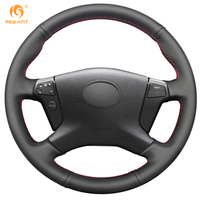 Mewant Black Artificial Leather Car Steering Wheel Cover For Toyota Avensis 2003 2007